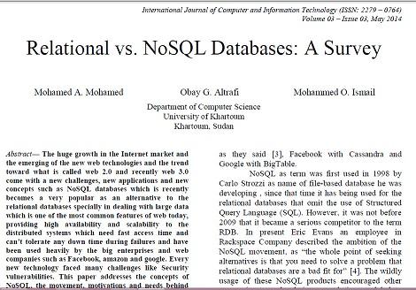 ترجمه مقاله انگلیسی با عنوان پایگاه داده های رابطه ای در برابر NoSQL: یک بررسی