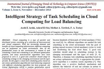 ترجمه مقاله انگلیسی با موضوع استراتژی هوشمند زمان بندی وظیفه برای تعادل بار در محاسبات ابری
